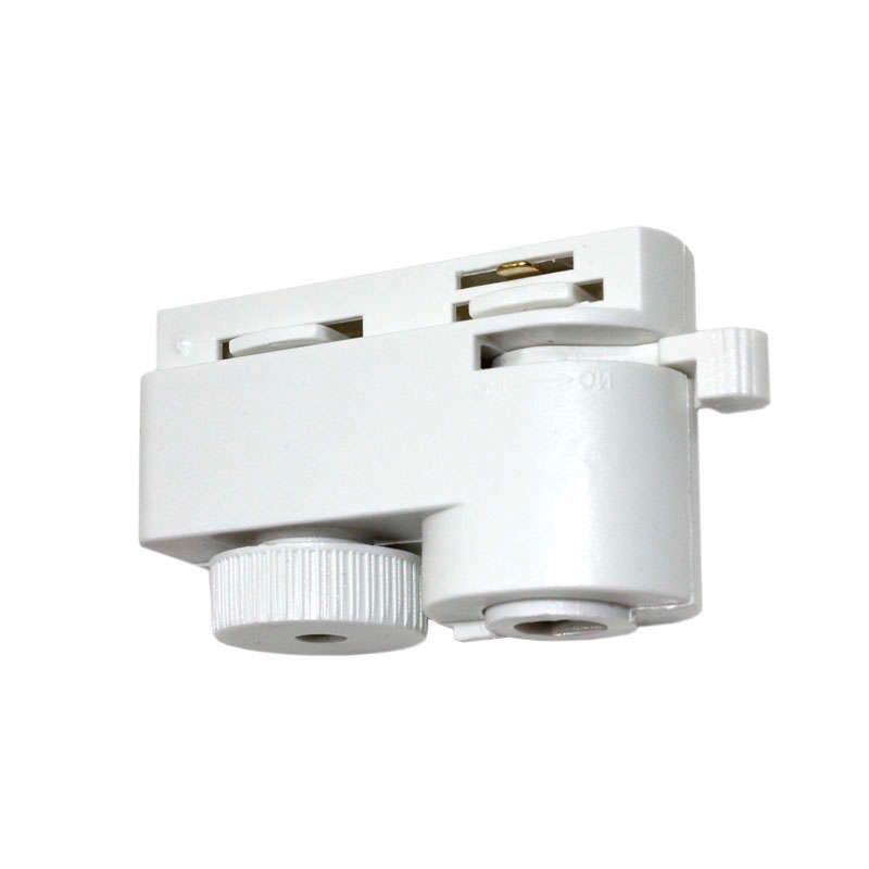 Conector foco a carril monofásico, blanco PL