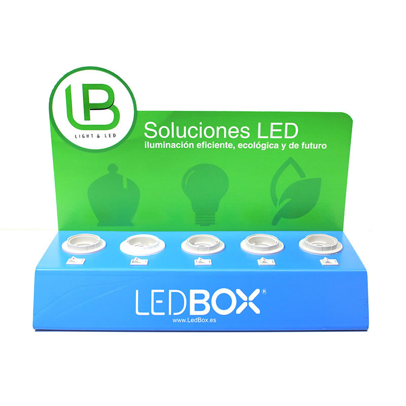 pr sentoir de bureau ampoules led expo led ledbox. Black Bedroom Furniture Sets. Home Design Ideas