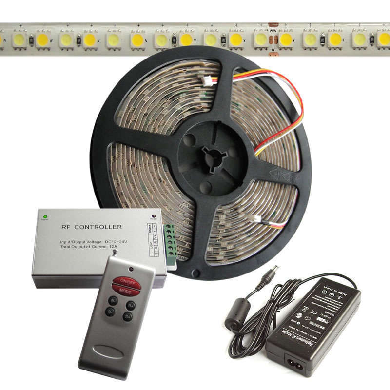 KIT tira LED flexible SMD5050, 5m (120 Led/m), blanco DUAL - IP20