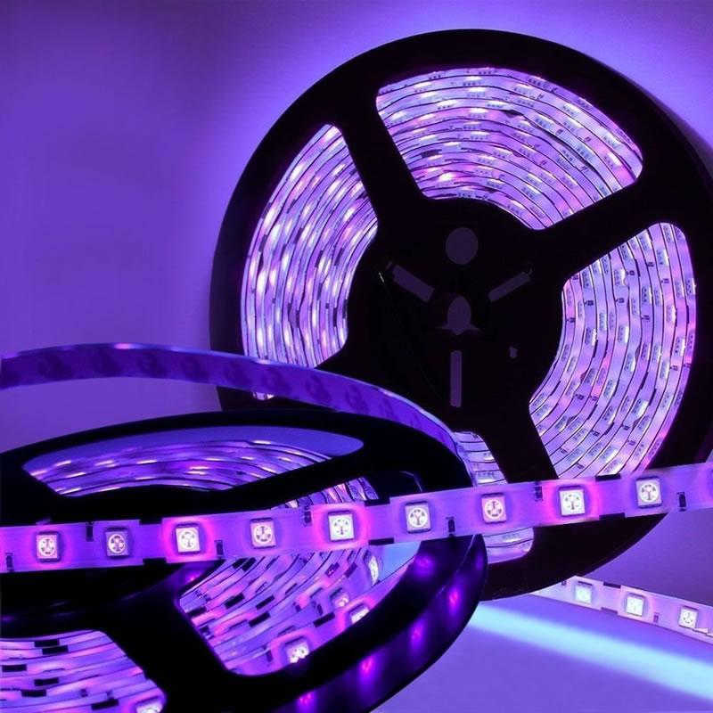 Tira LED UV Ultravioleta SMD5050, DC12V, 5m (60 Led/m) - IP20