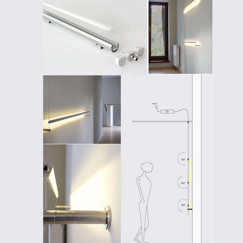 KIT - Perfil aluminio KROB para tiras LED, 2 metros