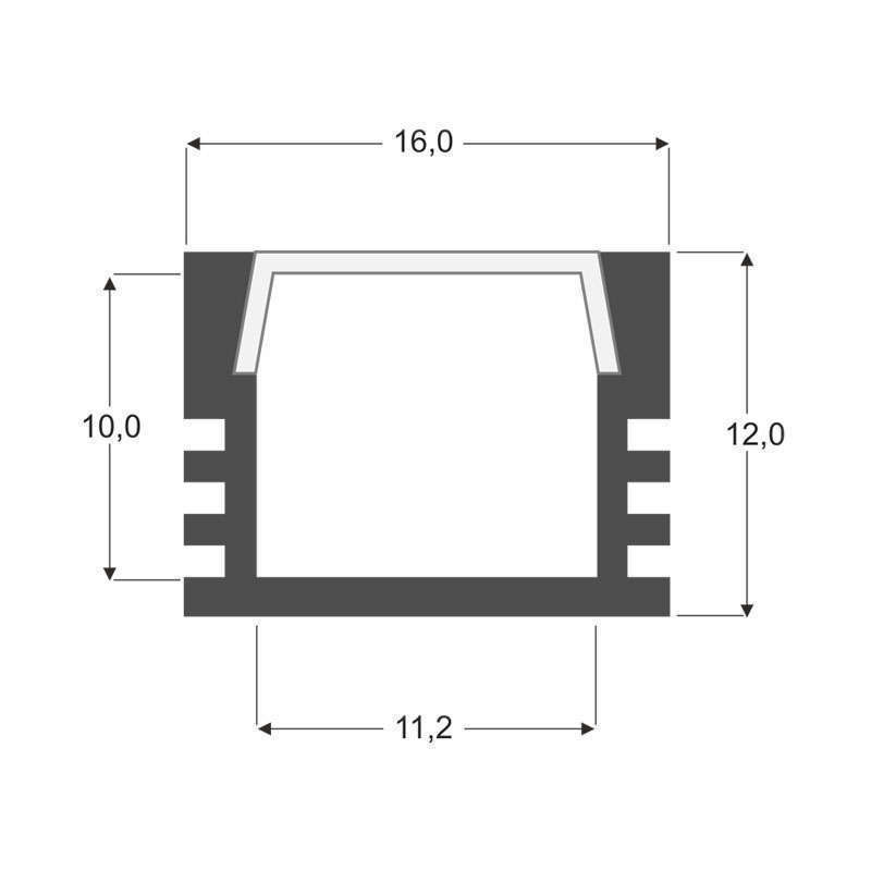 Perfil Cambel para tiras LED, 1 metro