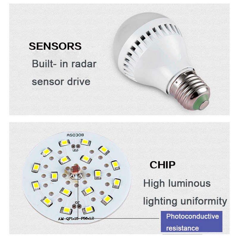 Bombilla led e27 12w chip samsung sensor movimiento y for Bombilla sensor crepuscular