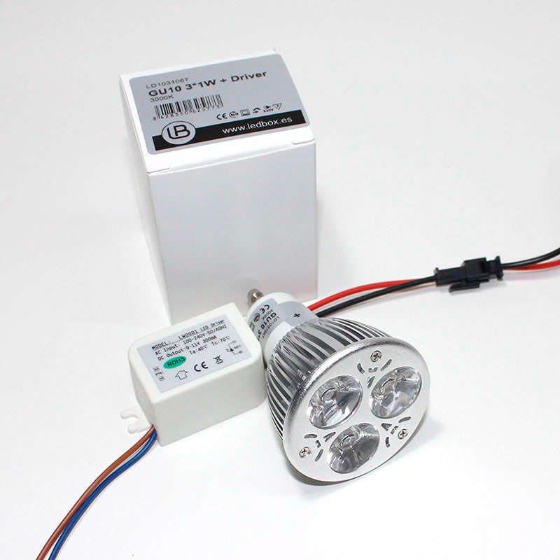 Bombilla LED GU10,  3*1W + driver