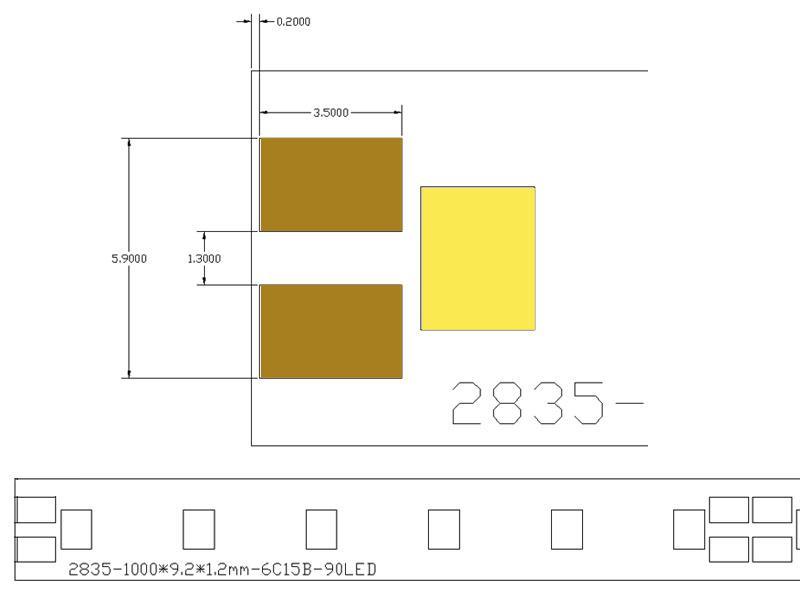 Tira led r gida epistar smd2835 dc24v 1m 90led m for Piscina rigida rectangular