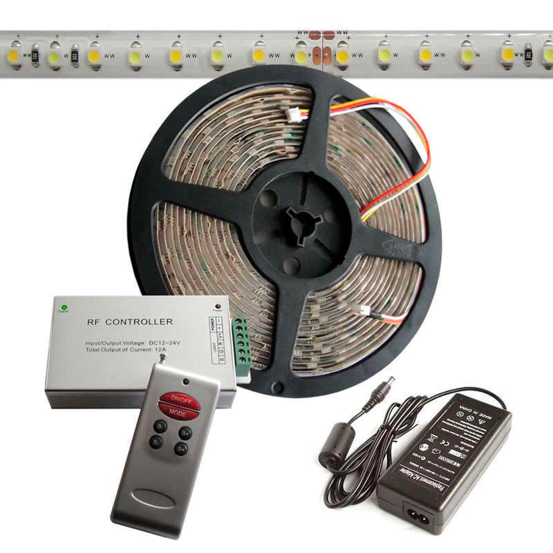 KIT tira LED flexible SMD3528, 5m (120 Led/m), blanco DUAL - IP65
