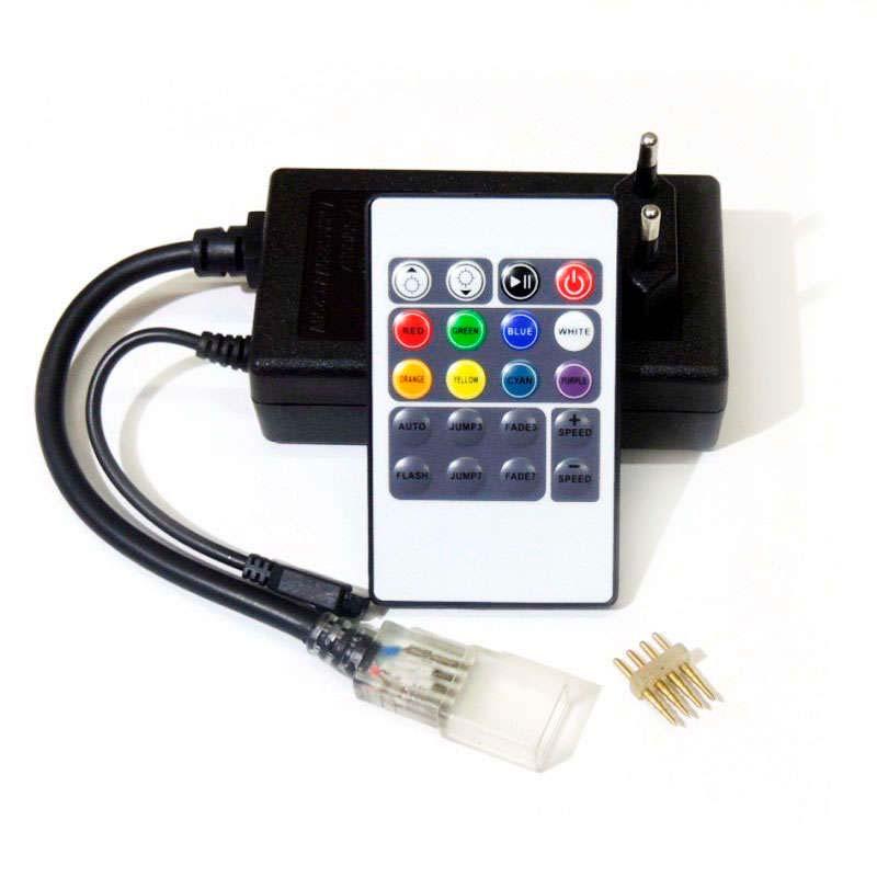 Controlador IR tira led 220V RGB 750W 12mm