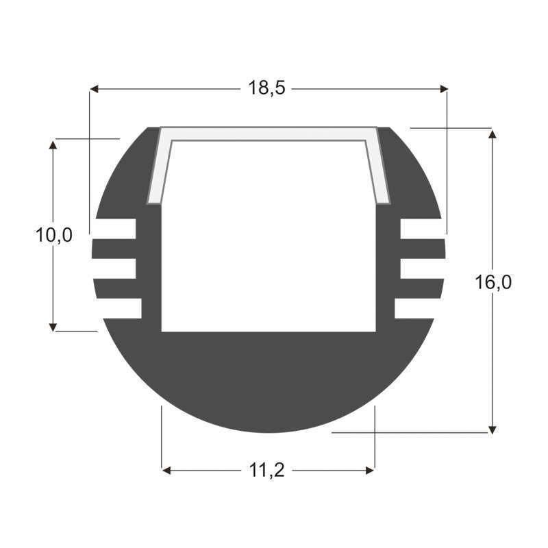 KIT - Perfil colgante Round, 1 m