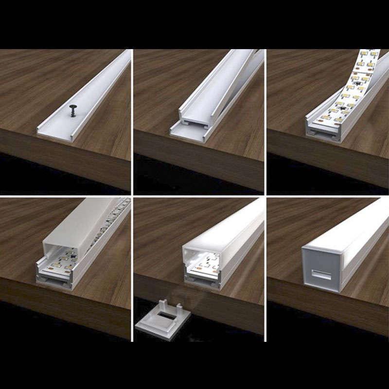 Perfil aluminio ALKAL para tiras LED, 2 metros