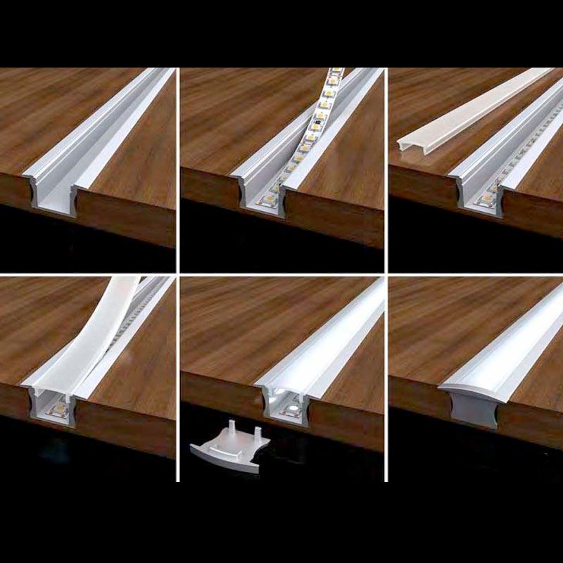 Kit perfil aluminio rida para tiras led 2 metros ledbox - Tiras de aluminio ...