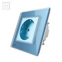 Enchufe Schuko EU 16A, frontal azul