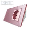 Interruptor táctil, 1 boton + 1 enchufe, frontal rosa