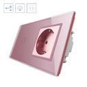 Conmutador táctil, 1 boton + 1 enchufe, frontal rosa