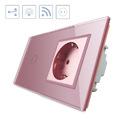Conmutador táctil, 1 boton + 1 enchufe, frontal rosa + remoto