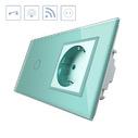 Interruptor táctil, 1 boton + 1 enchufe, frontal verde + remoto