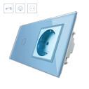 Interruptor táctil, 1 boton + 1 enchufe, frontal azul