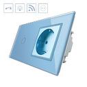Interruptor táctil, 1 boton + 1 enchufe, frontal azul + remoto