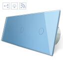 Conmutador 3 cuerpos táctil + remoto, 3 botones, frontal azul