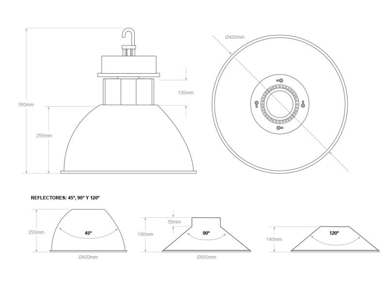 campana led industrial 80w